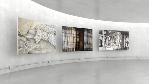Empty modern exhibition gallery interior and hanging white canva
